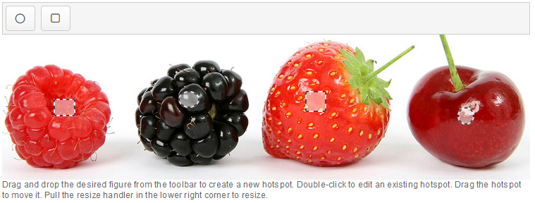 the same background image of berries as before, with four hotspots placed on the image, one on each berry