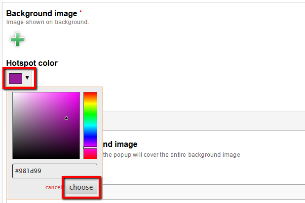 Hotspot colour section underneath background image with the colour picker open, choose button in the bottom right-hand corner highlighted