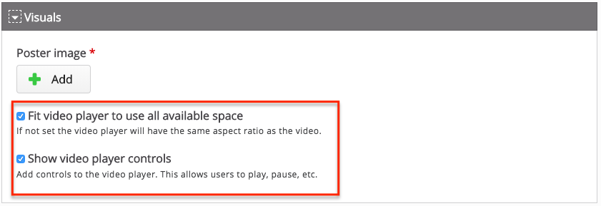 The two checkboxes described above - fit video player to use all space and show video player controls - highlighted and both boxes checked by default