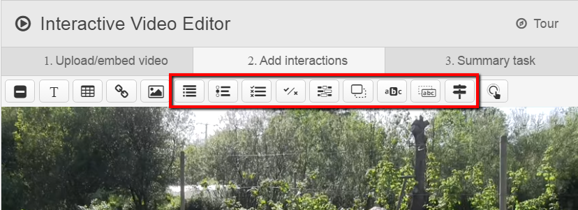 the toolbar at the top of the add interactions screen, with the video below it. Several options are highlighted