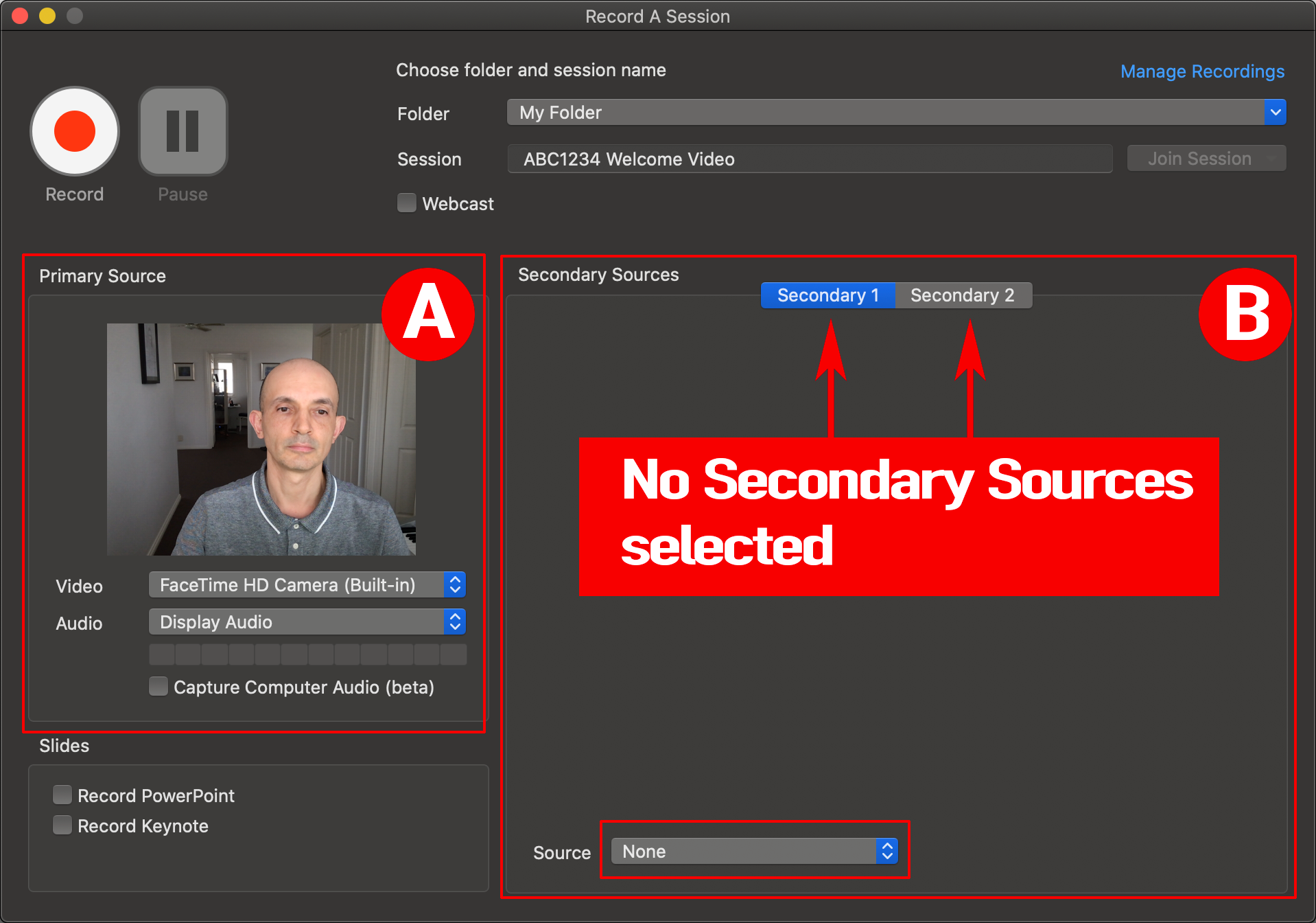 Select Primary source and keep both Secondary Sources unchecked