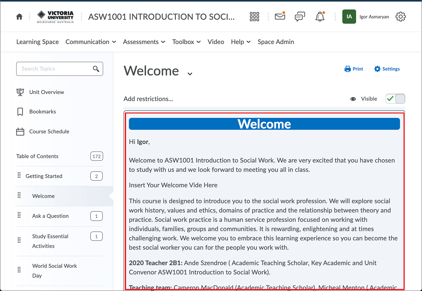 Click anywhere within the Welcome text area to edit the content