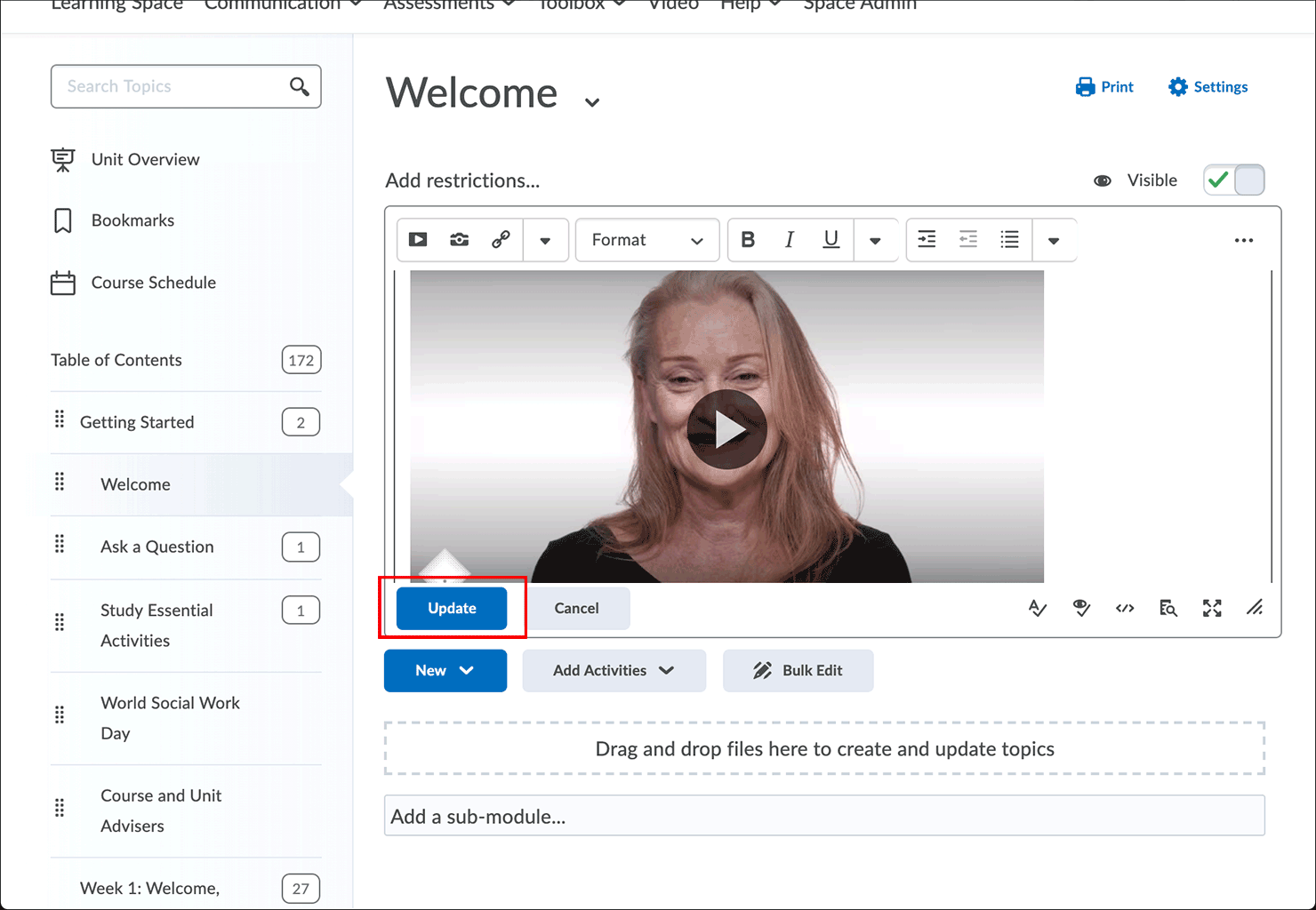 Click Update button to preview the video on the Welcome page